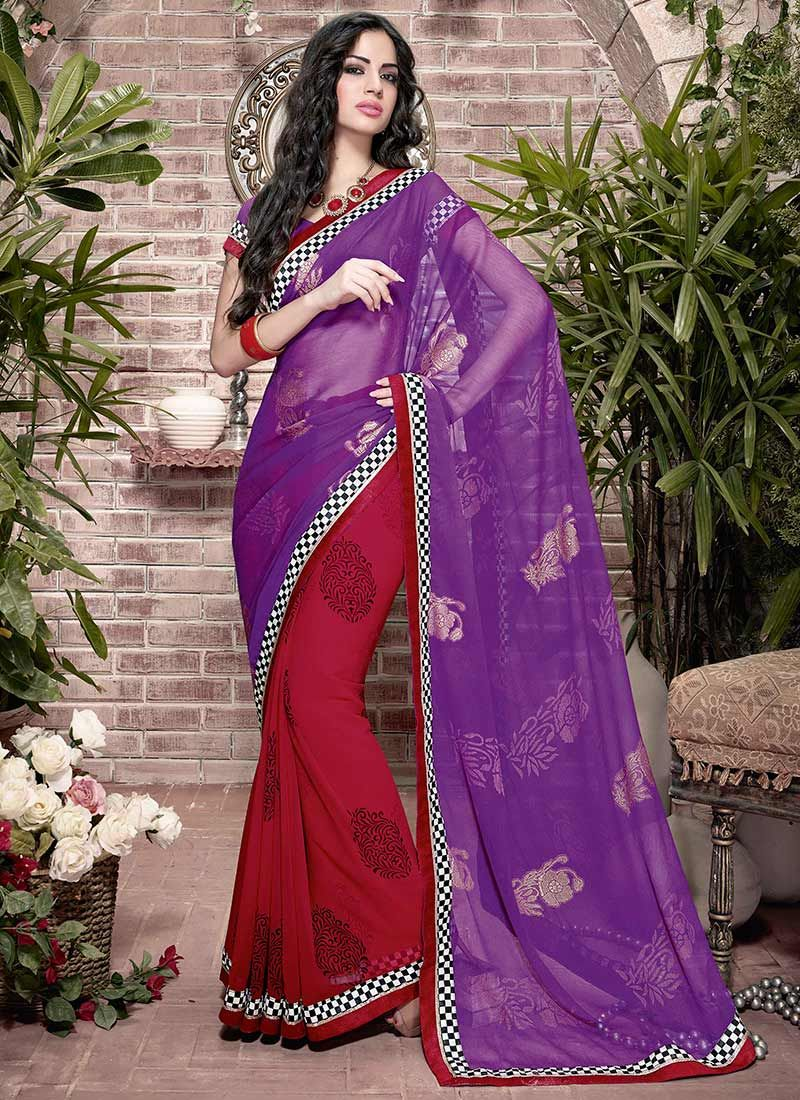 Red And Purple Patch Border Half And Half Saree