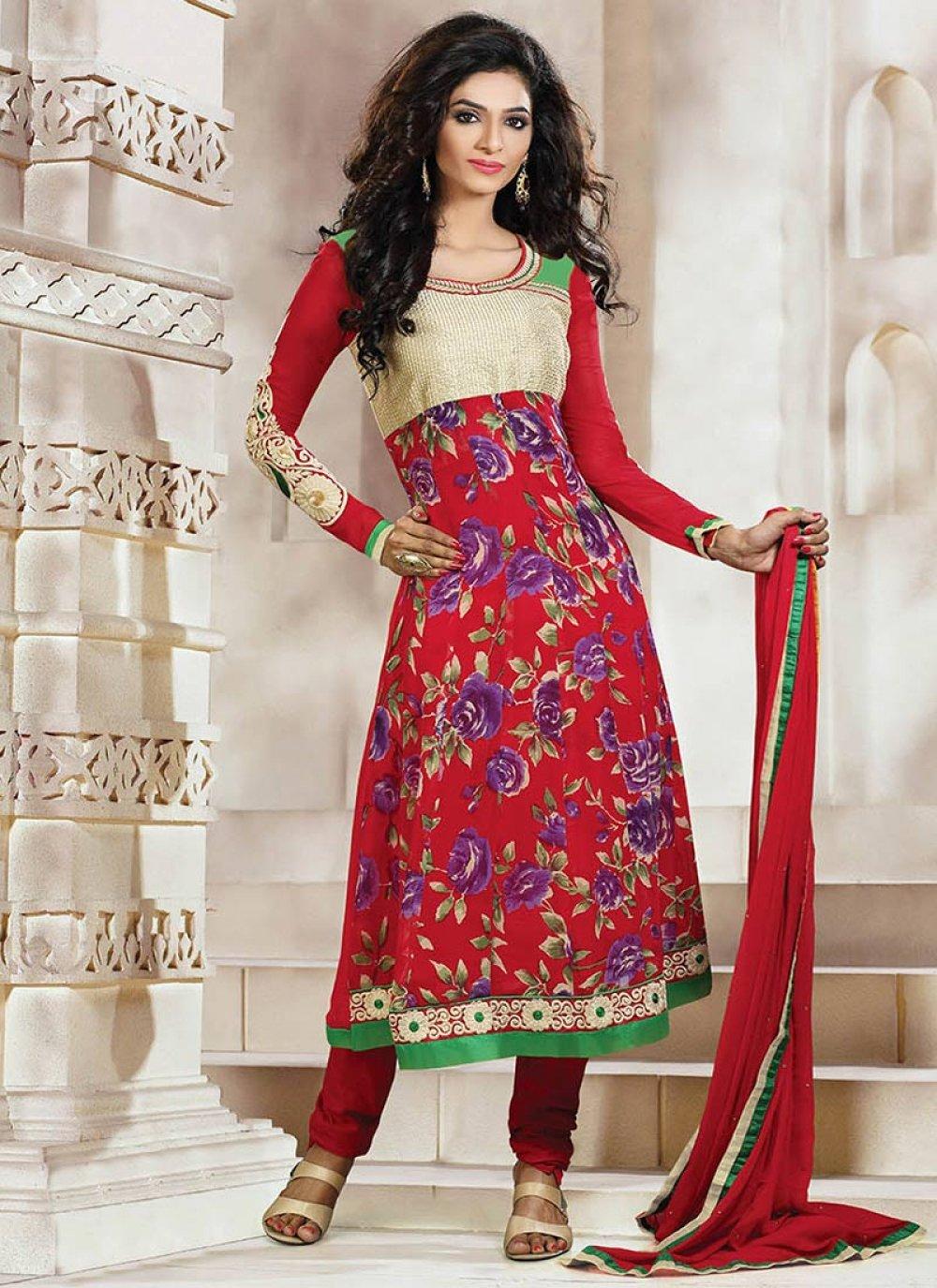 Red Printed Churidar Suit