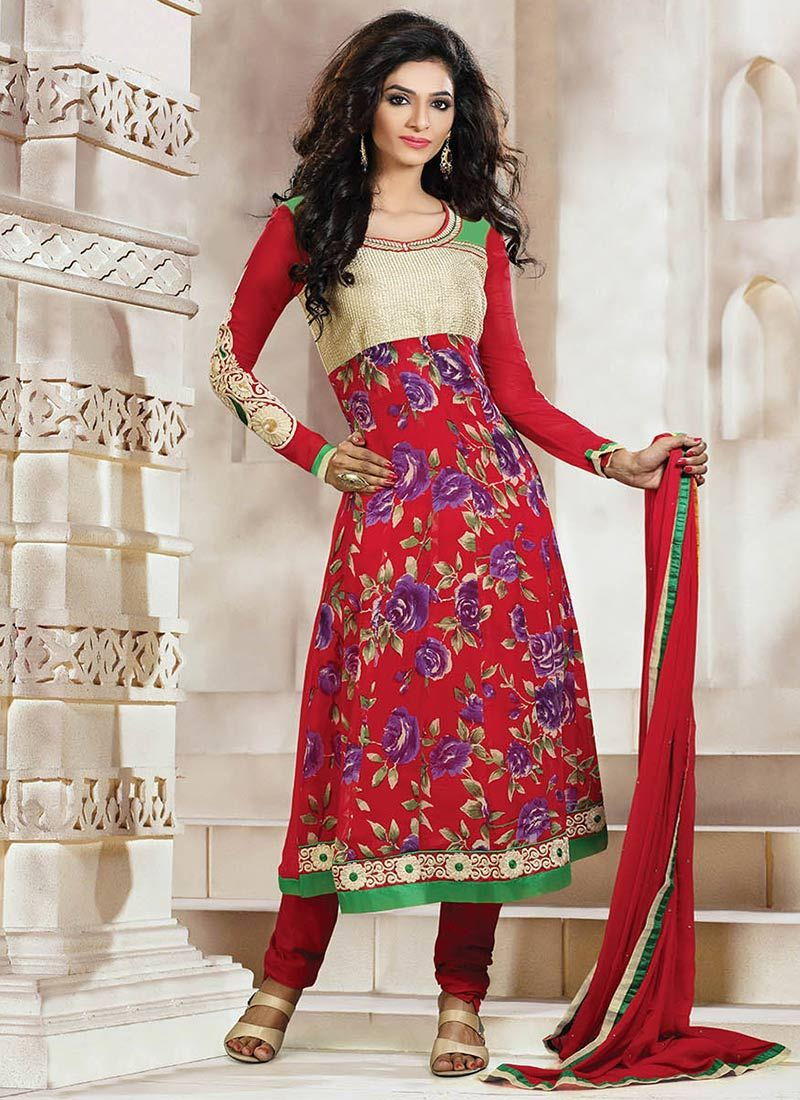 Red Printed Churidar Suit