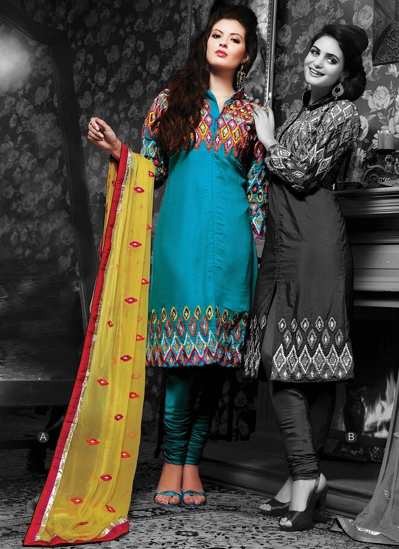Resham Embroidered Churidar Suit