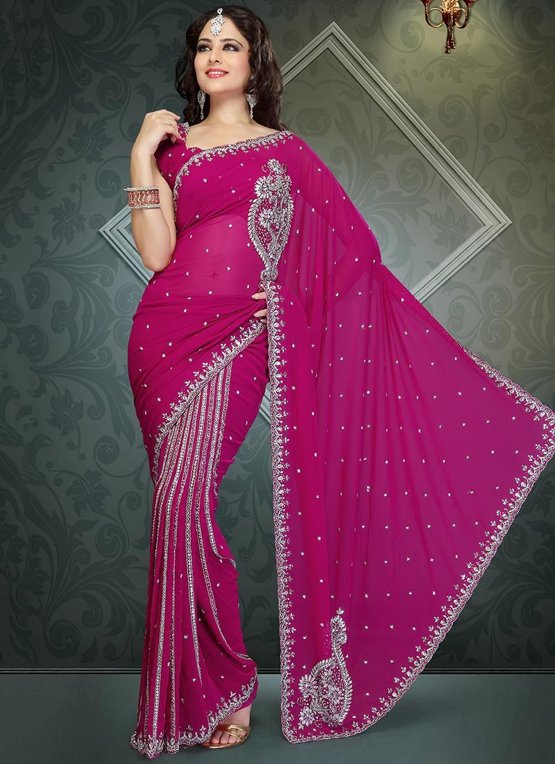 Stones Hot Pink Ready Pleated Saree