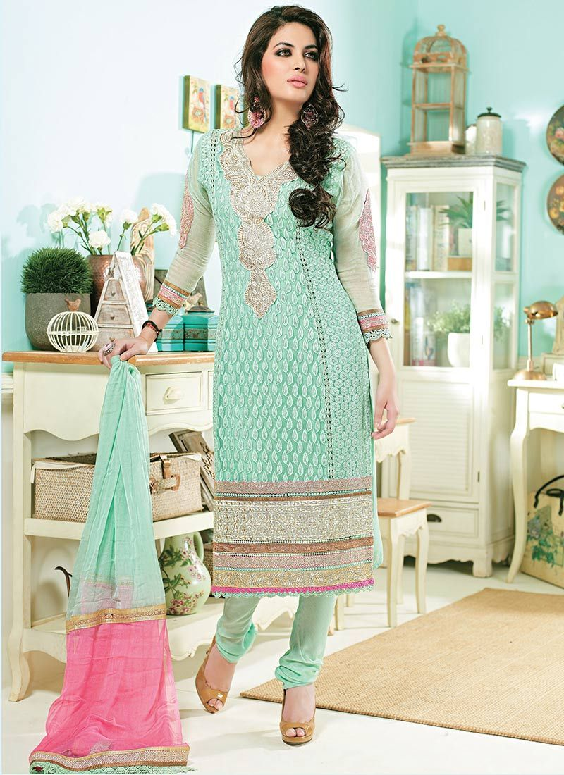 Turquoise Blue Embroidered Churidar Suit