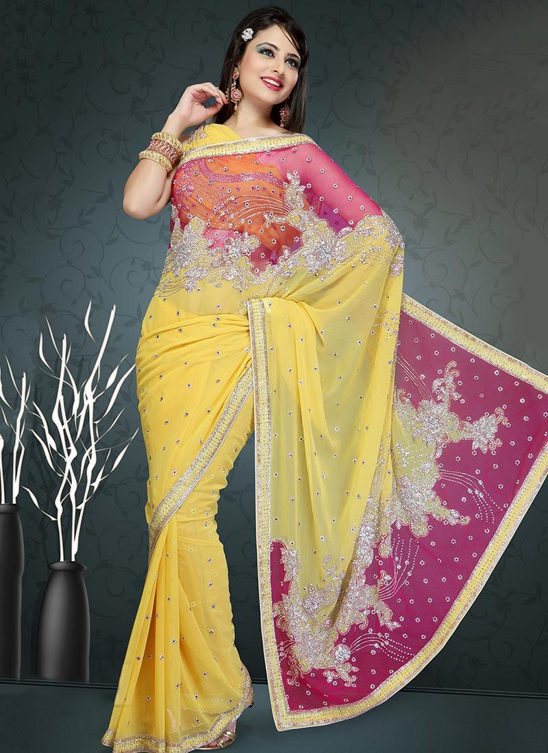 Yellow and Pink Shade Georgette Saree