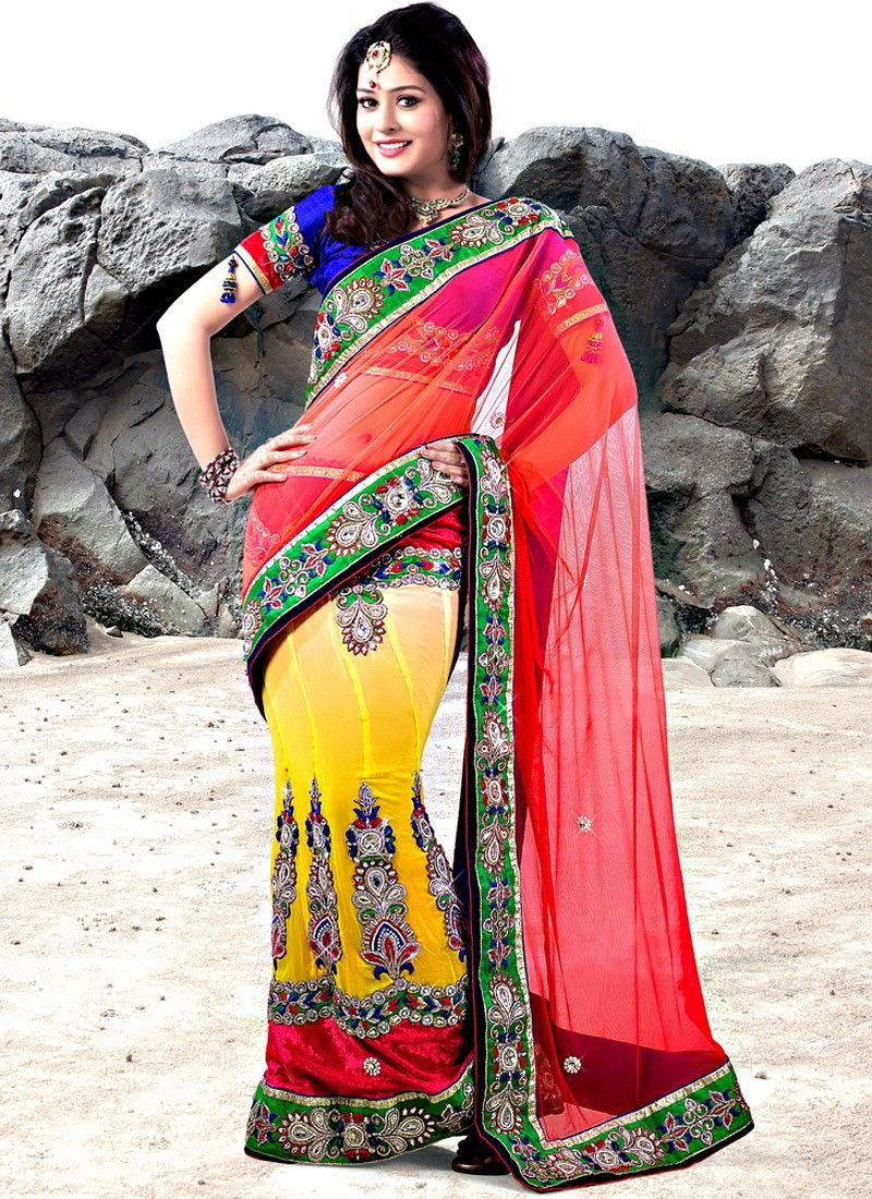 Yellow And Red Net Lehenga Saree