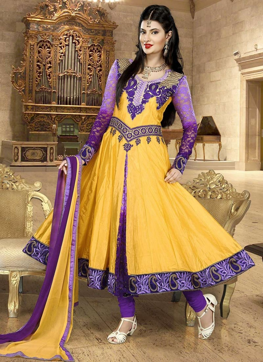 Yellow Crepe Silk Embroidered Anarkali Suit