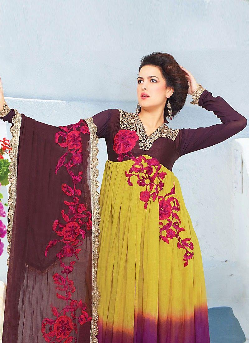 Yellow Faux Georgette Churidhar Suit