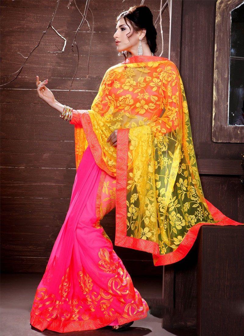 Yellow Net Half And Half Saree