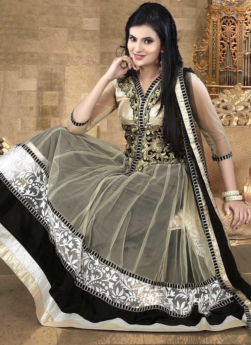 Beige And Black Net Length Anarkali Kameez