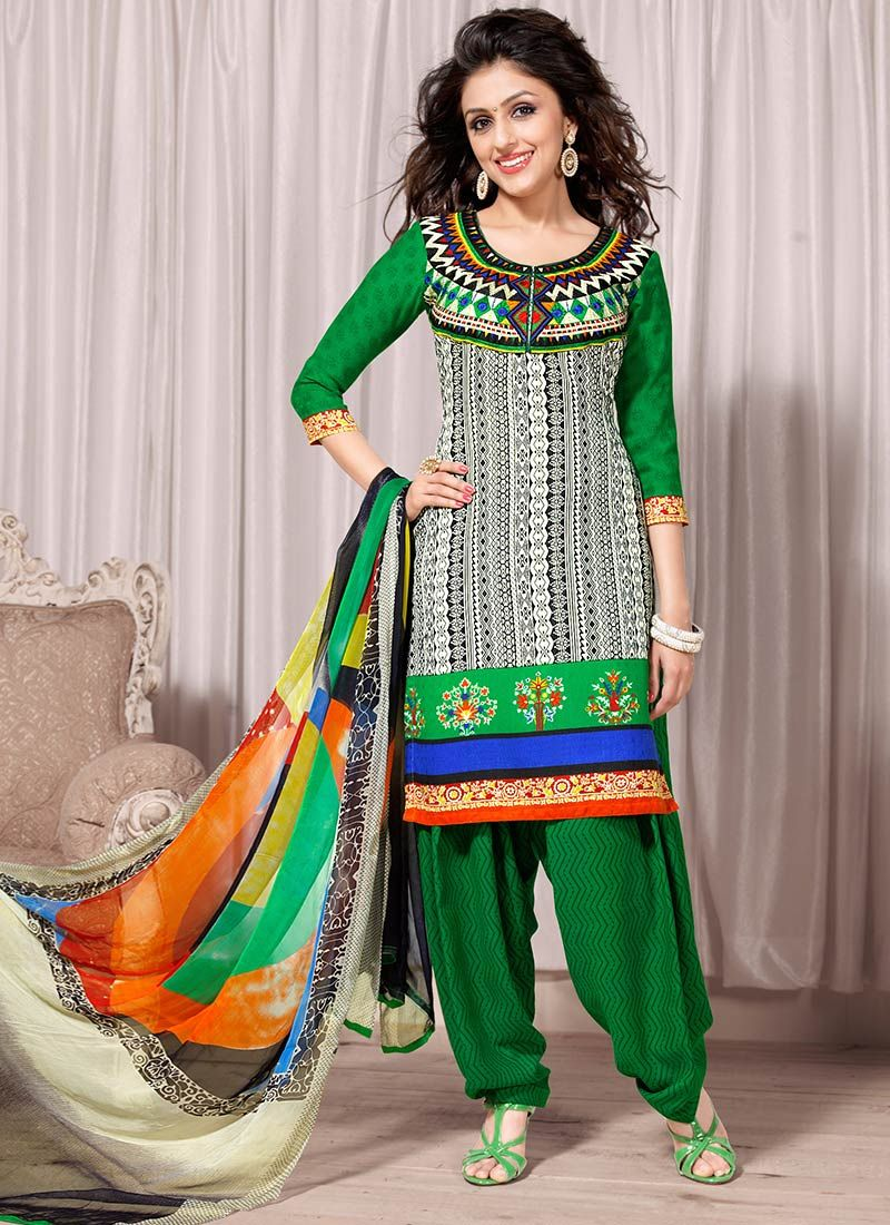 Beige And Green Creap Salwar Suit
