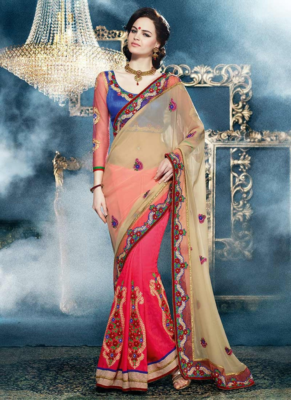 Beige And Pink Embroidered Half And Half Saree