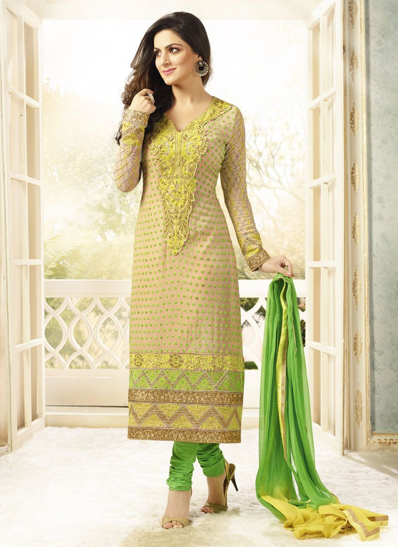 Beige And Yellow Resham Work Churidar Suit