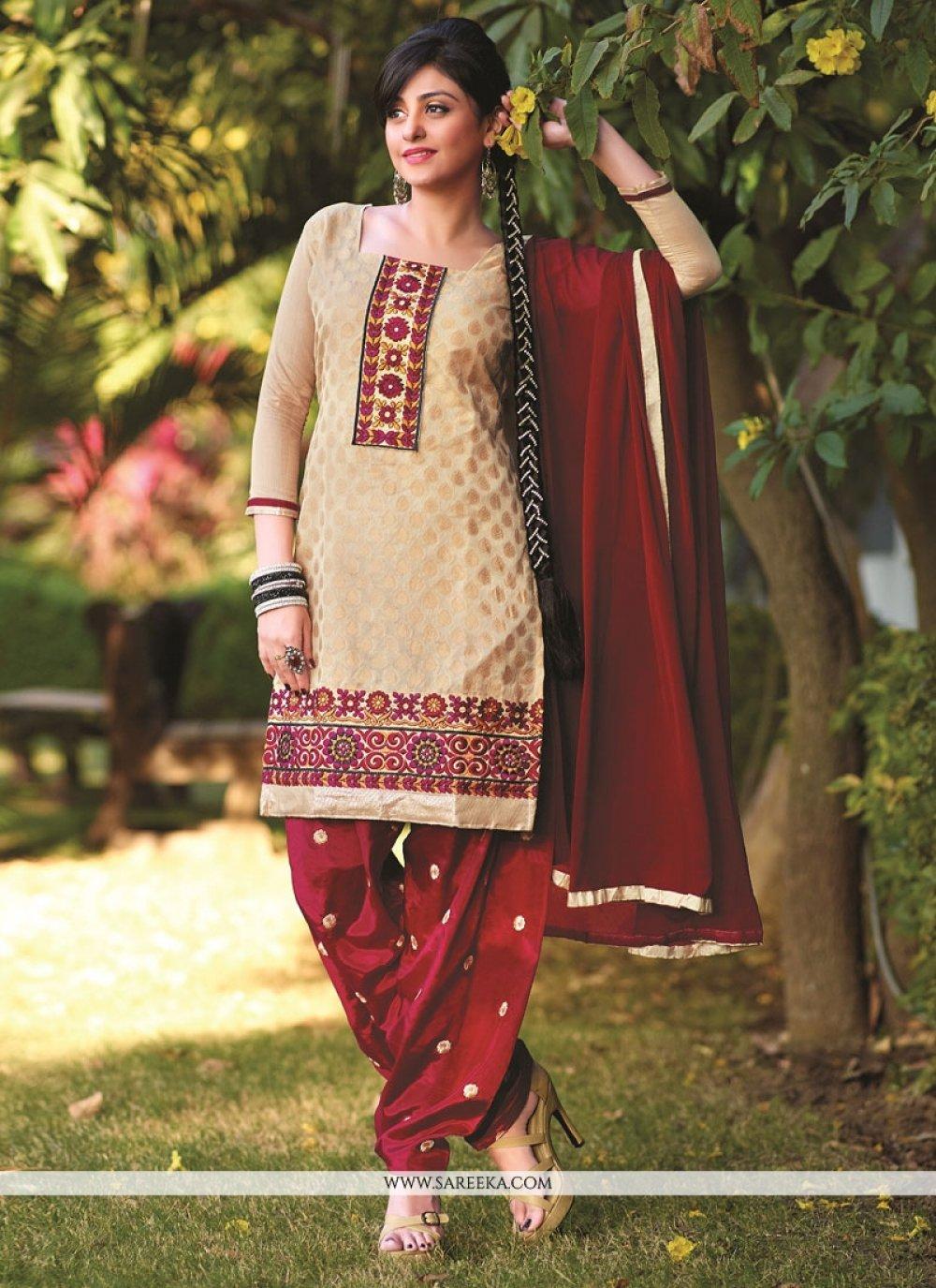 Beige Banarasi Jacquard Punjabi Suit