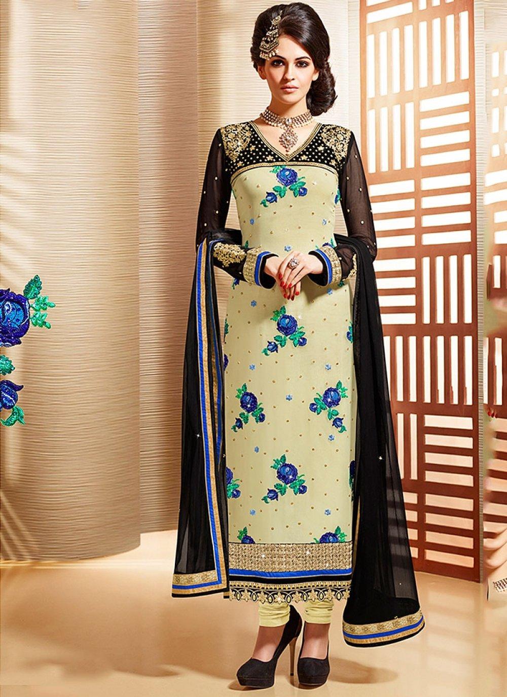 Beige Embroidery Faux Georgette Churidar Suit