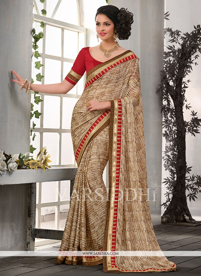Beige Patch Border Work Casual Saree