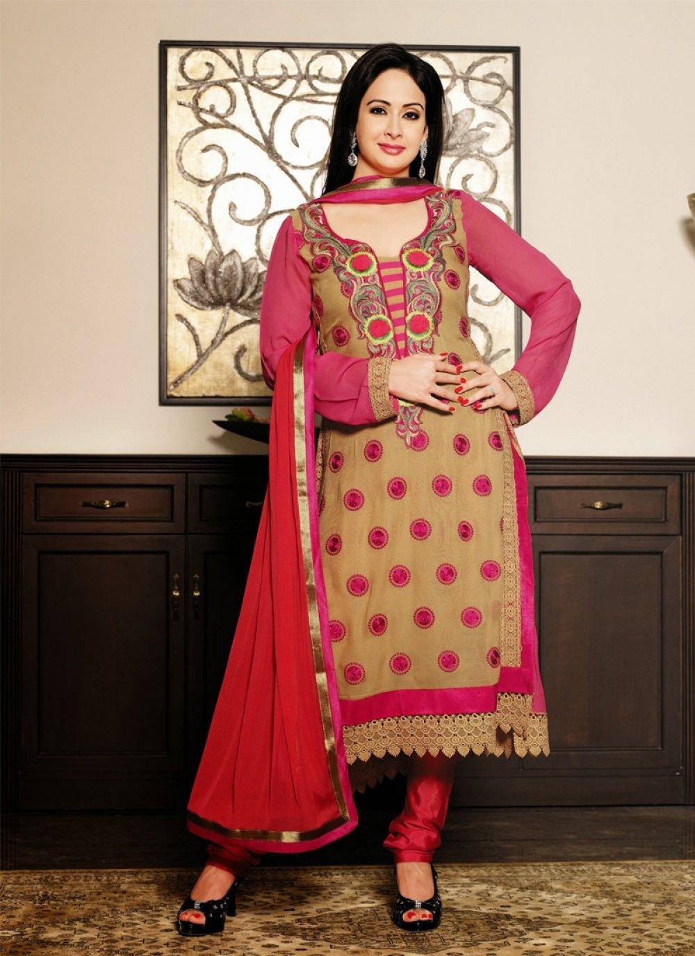 Beige Resham Work Churidar Suit
