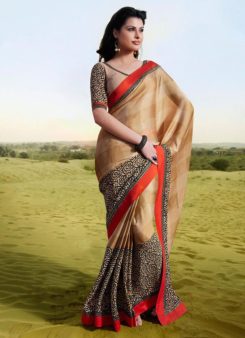 Beige Shaded Printed Faux Chiffon Saree