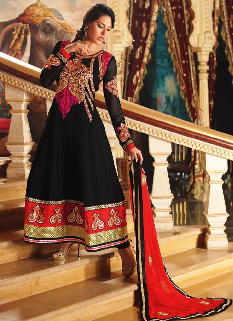 Black Border Work Georgette Anarkali Suit