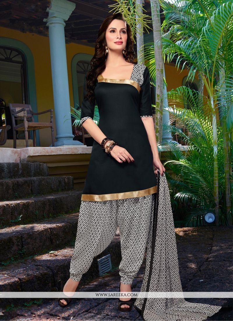 Black Cotton Satin Punjabi Suit