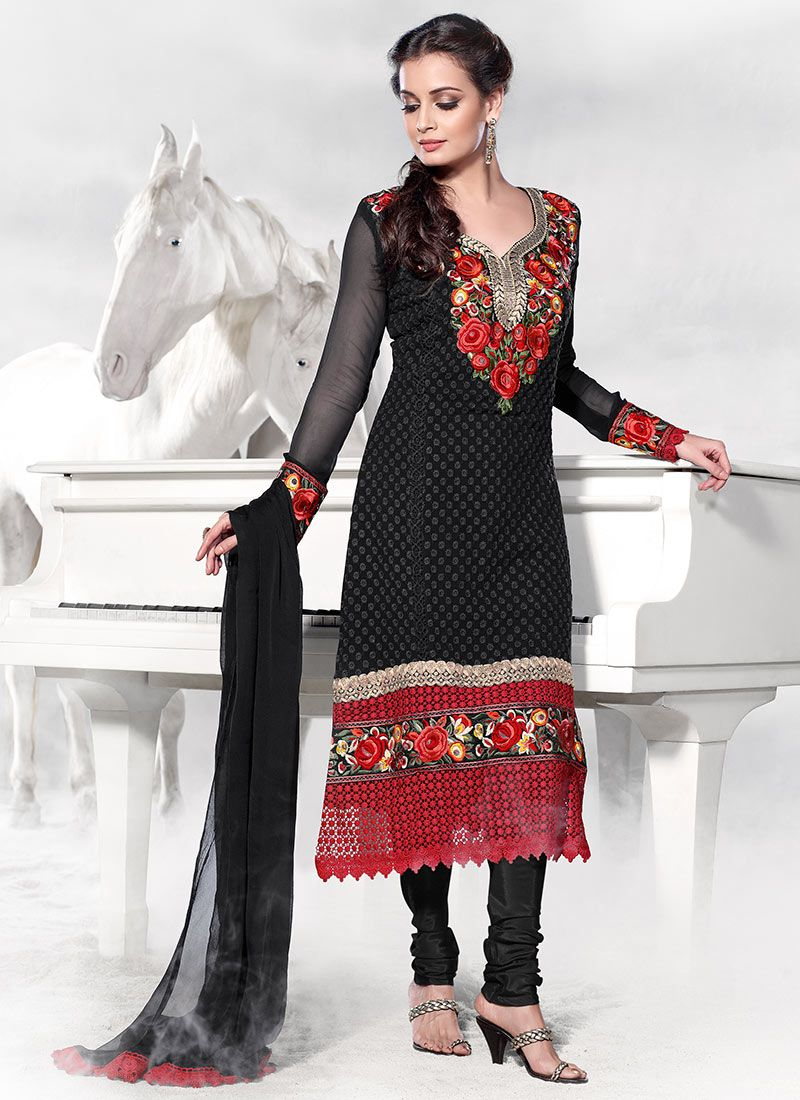 Black Dia Mirza Net Churidar Suit