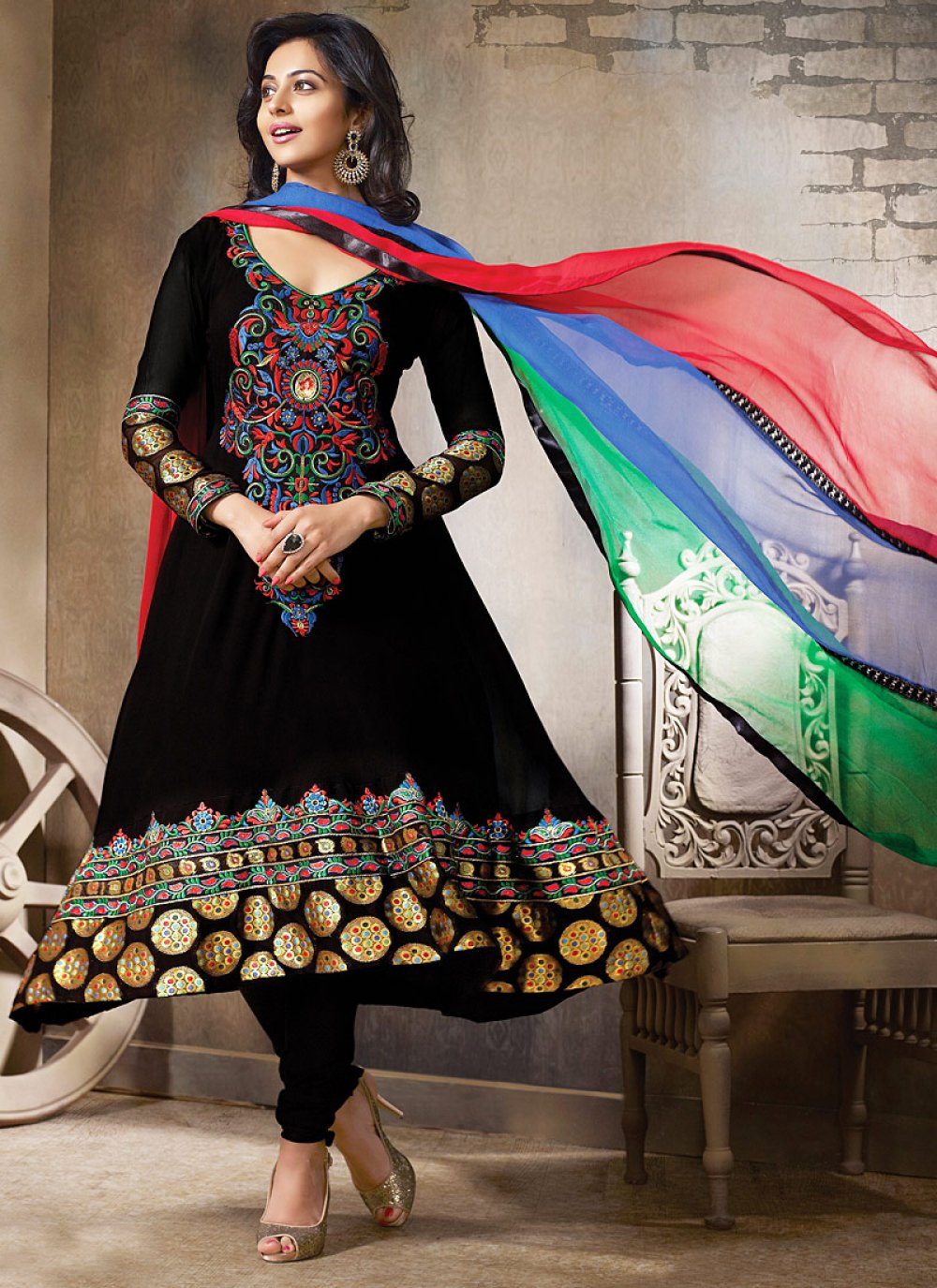 Black Embroidery Work Anarkali Suit