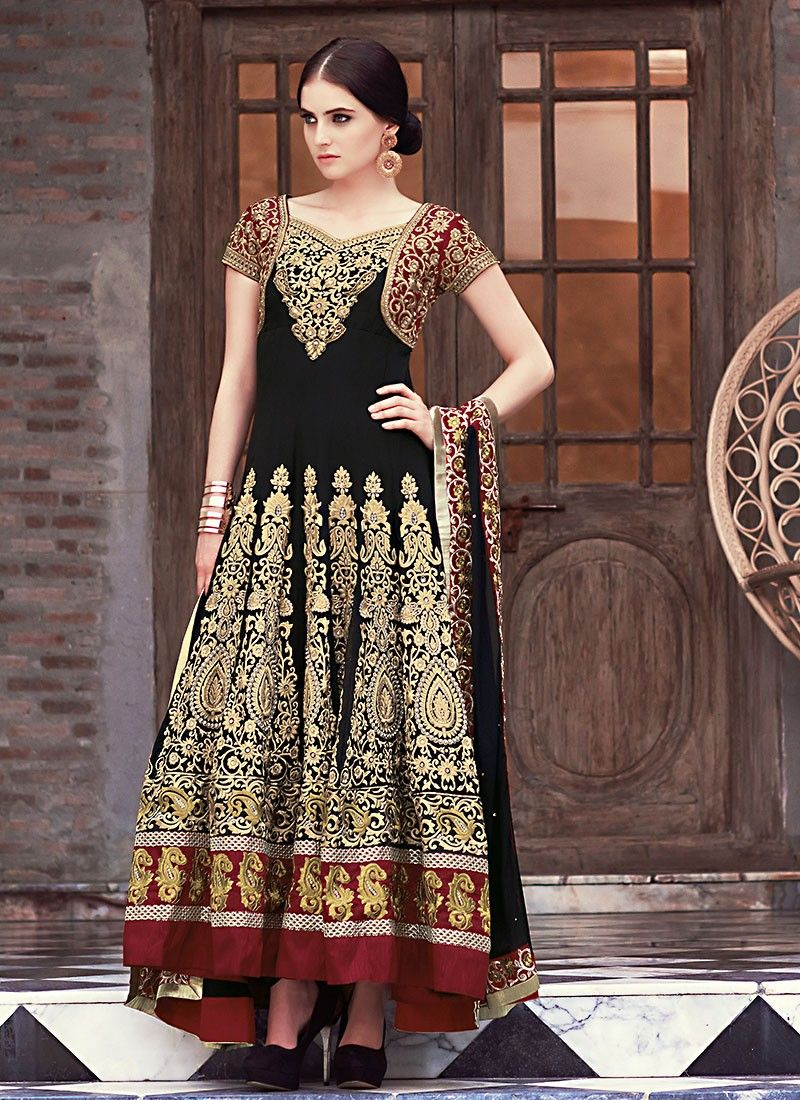 Black Georette Anarkali Suit