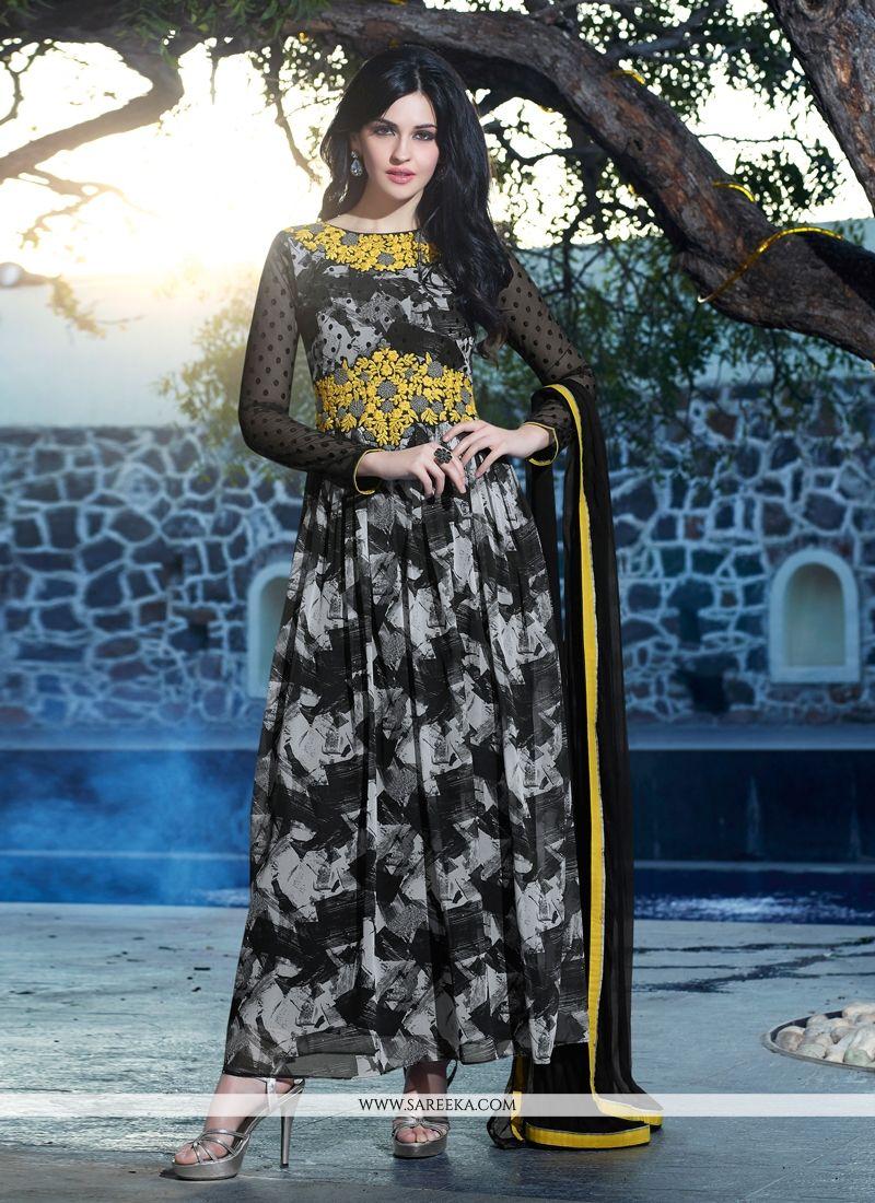 Black Printed Anarkali Suit