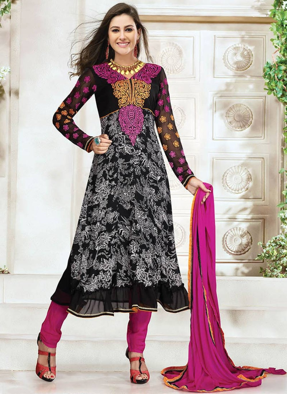 Black Printed Churidar Suit