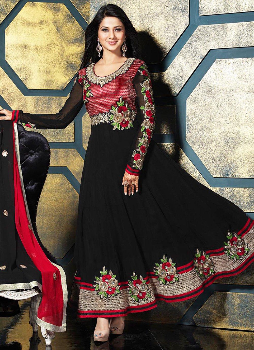 Black Resham Work Georgette Anarkali Suit