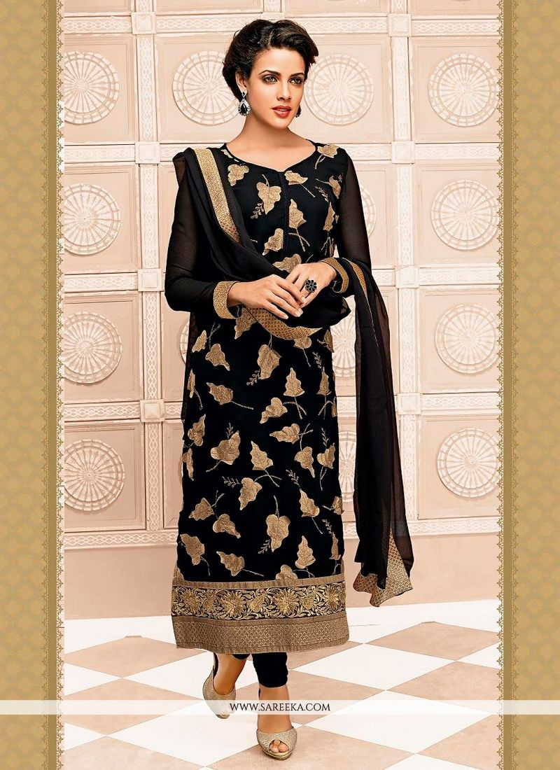 Black Zari Work Churidar Suit