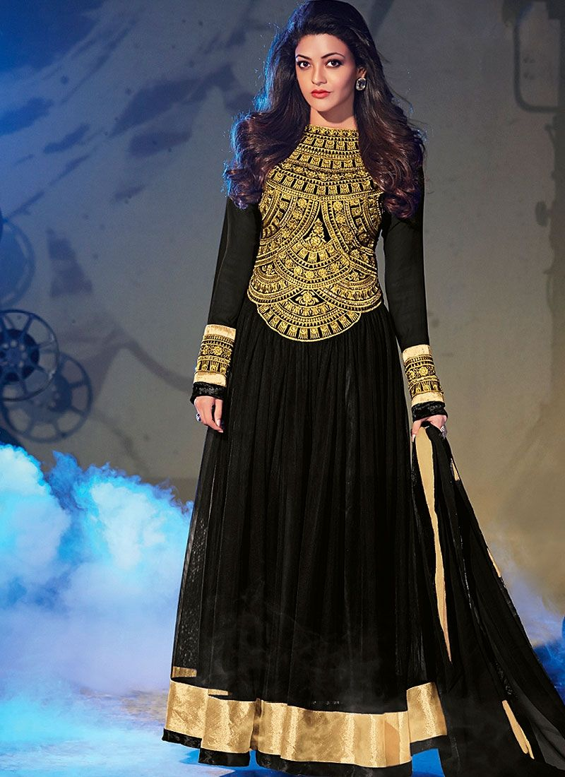Black Zari Work Georgette Anarkali Suit