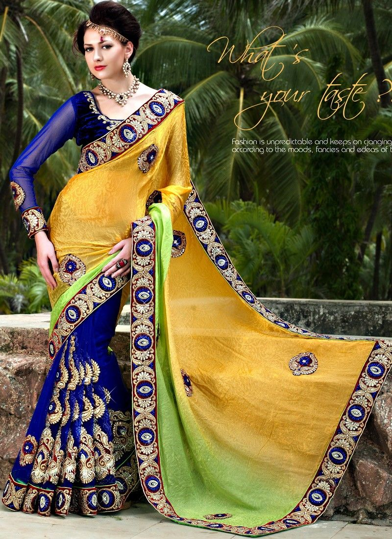 Blue And Gold Art Silk Half And Half Saree