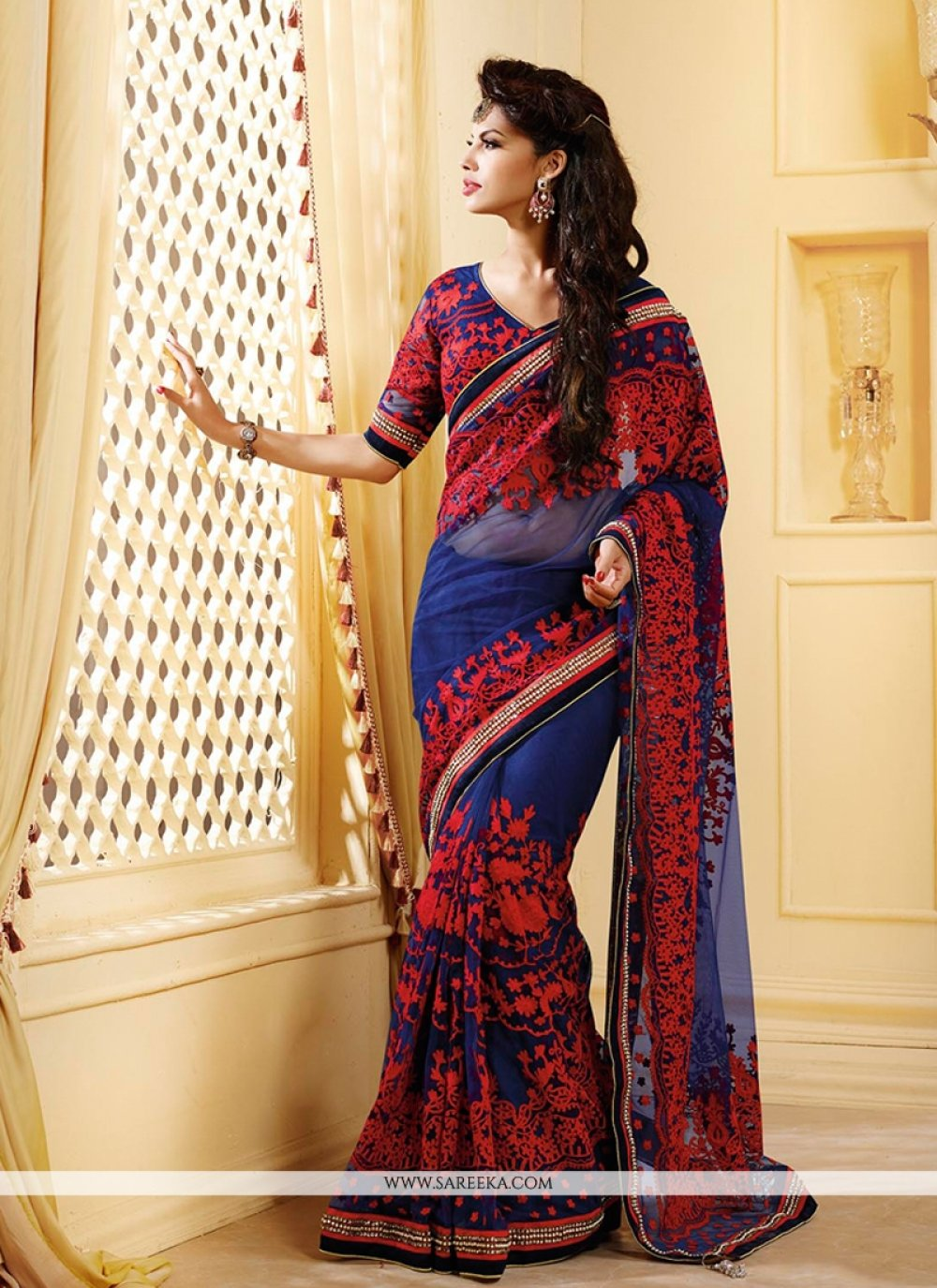 Blue And Red Resham Net Saree
