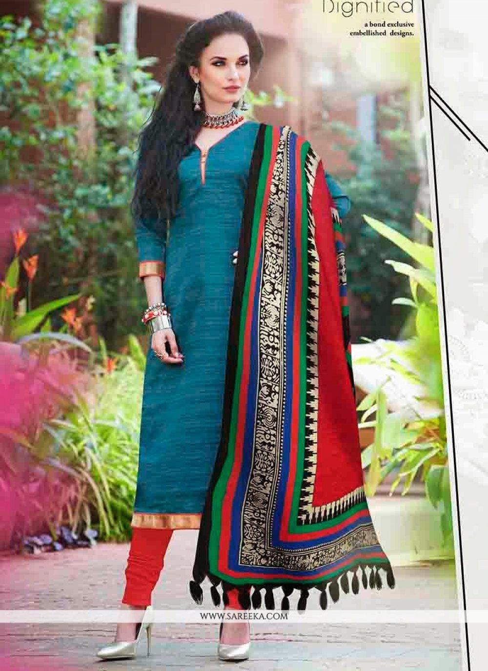 Teal Bhagalpuri Silk Churidar Salwar Suit