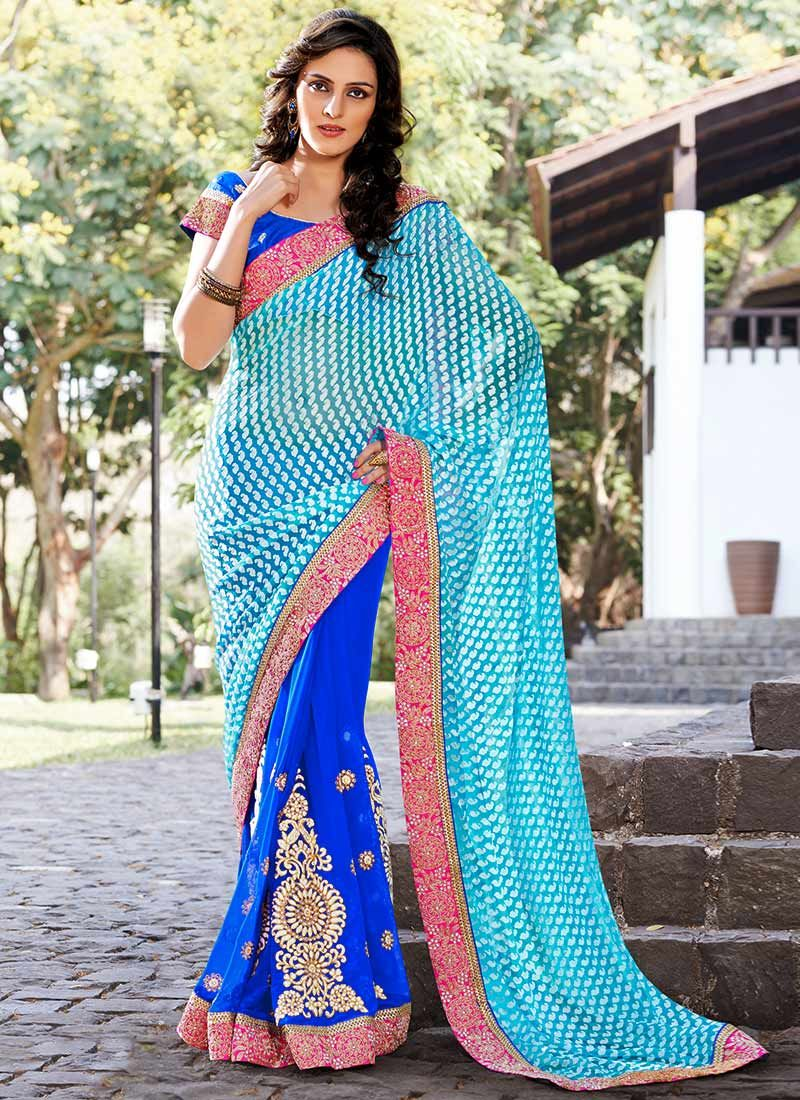 Blue Brasso Georgette Embroidered Saree