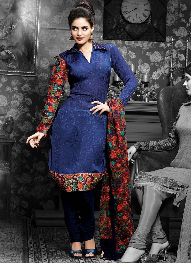Blue Chiffon Jacquard Churidar Suit