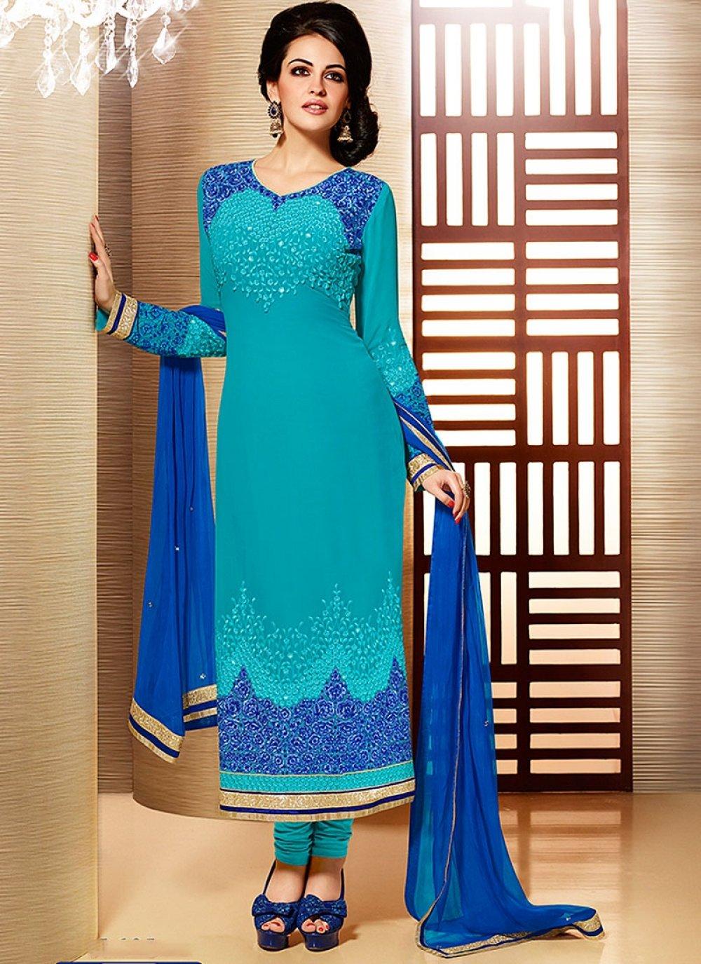 Blue Embroidery Faux Georgette Churidar Suit