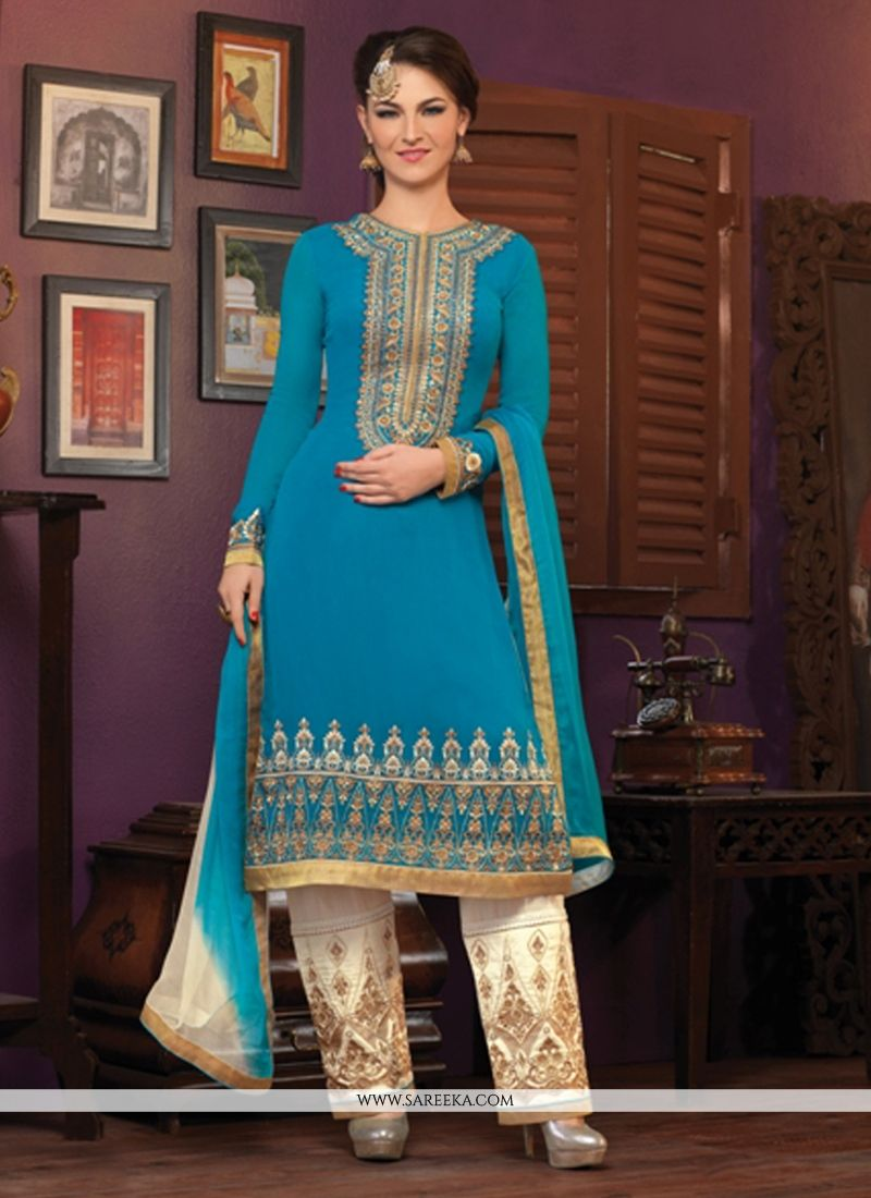 Blue Embroidery Work Pant Style Suit