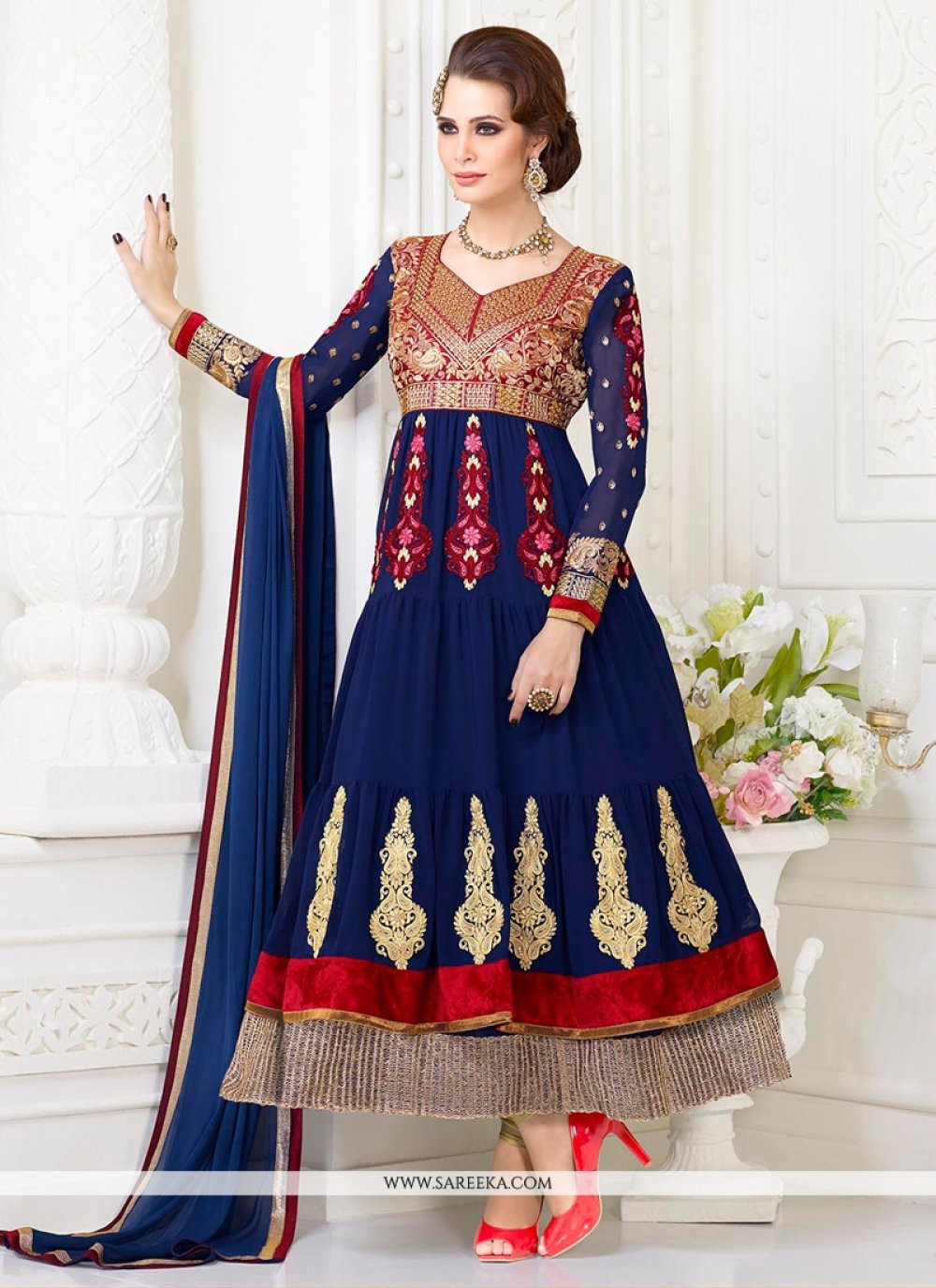 Blue Georgette Anarkali Salwar Suit