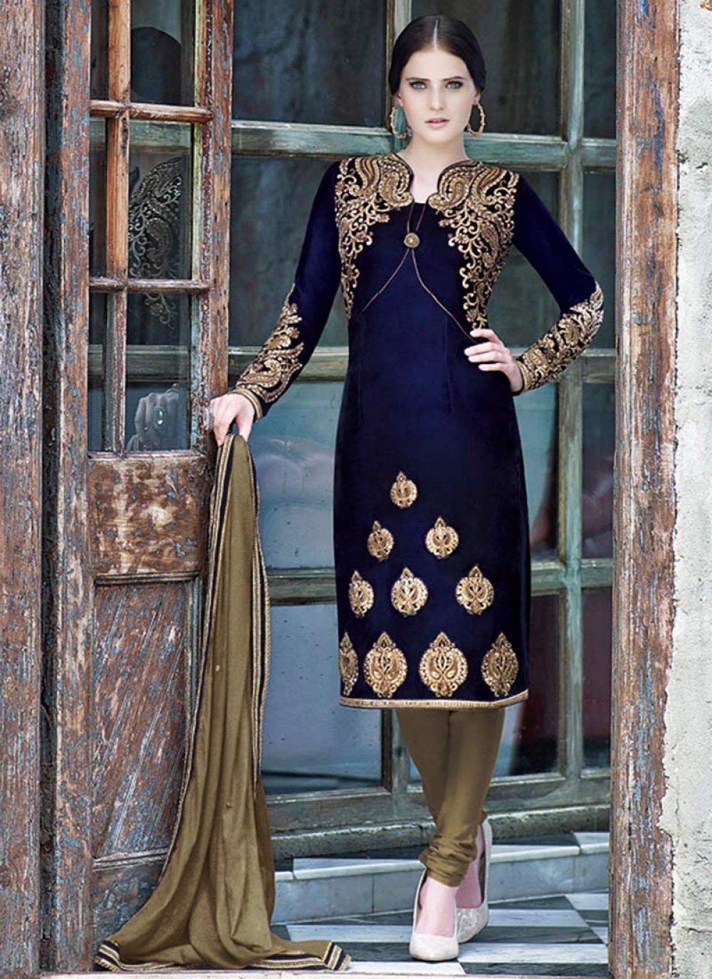 Blue Resham Embroidered Churidar Suit