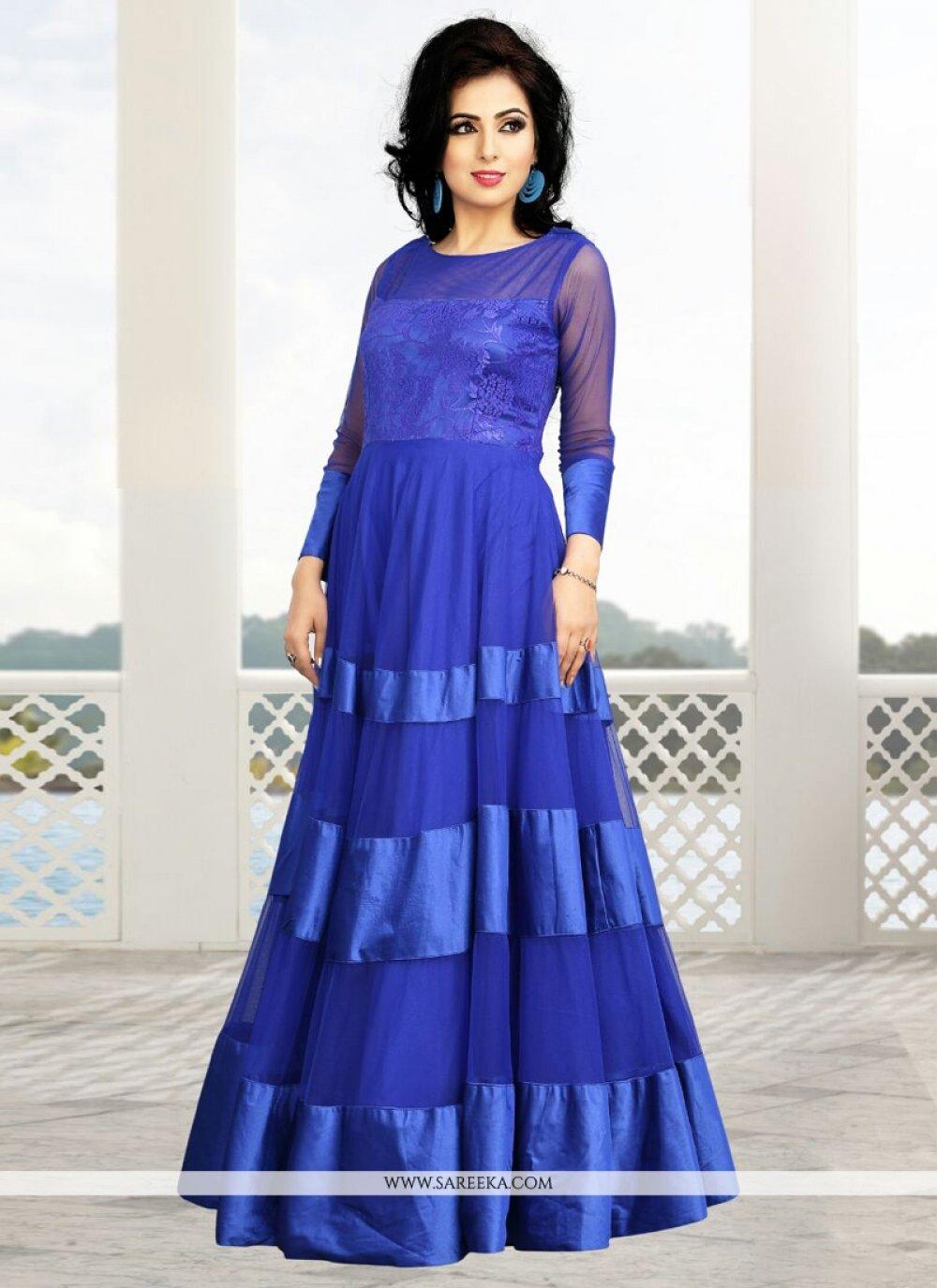 Blue Soft Net Party Wear Gown