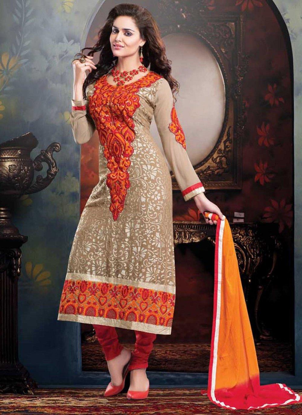 Brown And Orange Resham Work Brasso Churidar Suit
