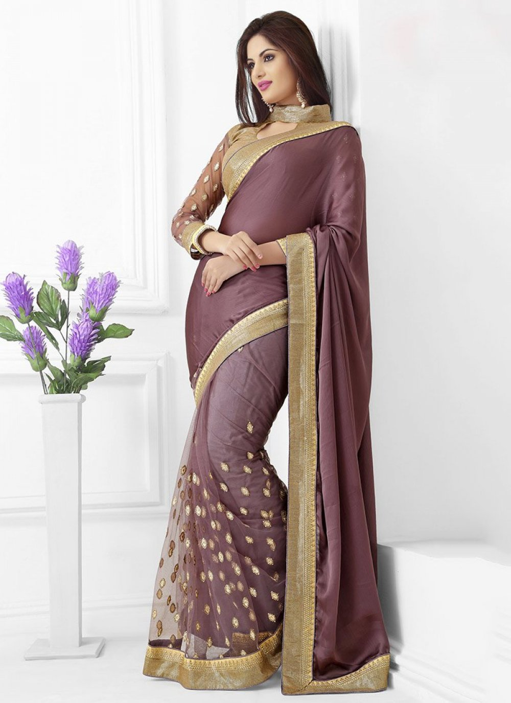Brown Chiffon Silk Half And Half Saree
