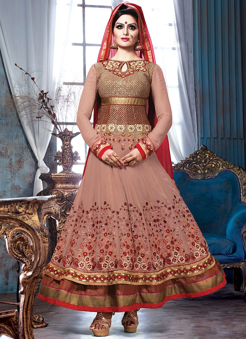 Brown Embroidery Net Anarkali Suit