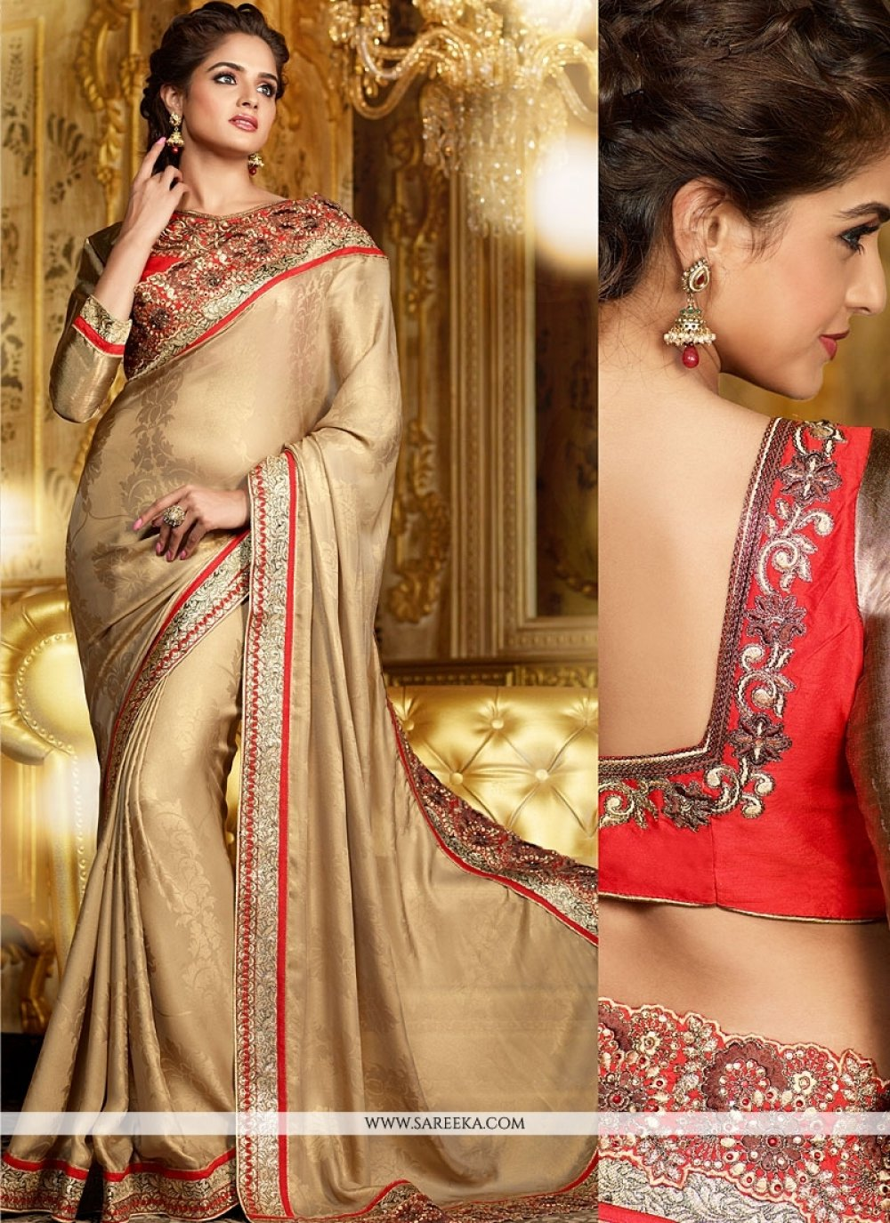 Brown Jacquard Georgette Saree