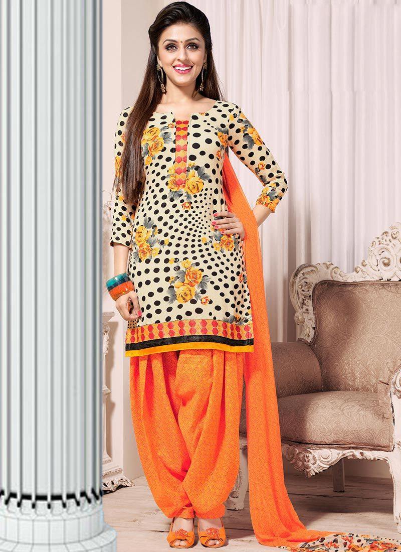 Cream And Orange Faux Crepe Patiala Suit