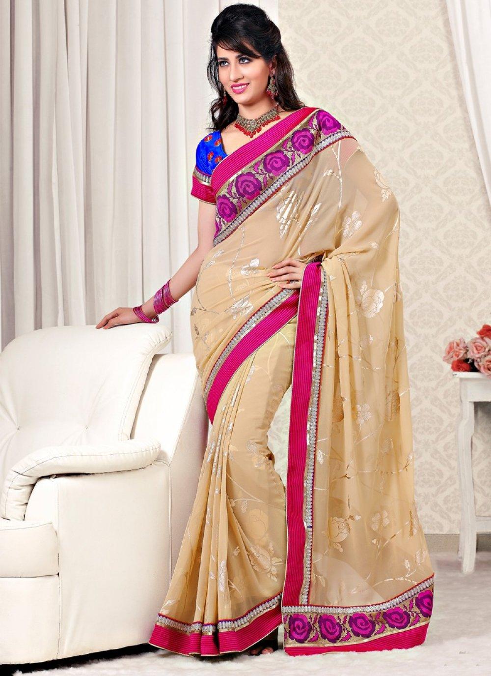 Cream Color Faux Georgette Designer Saree