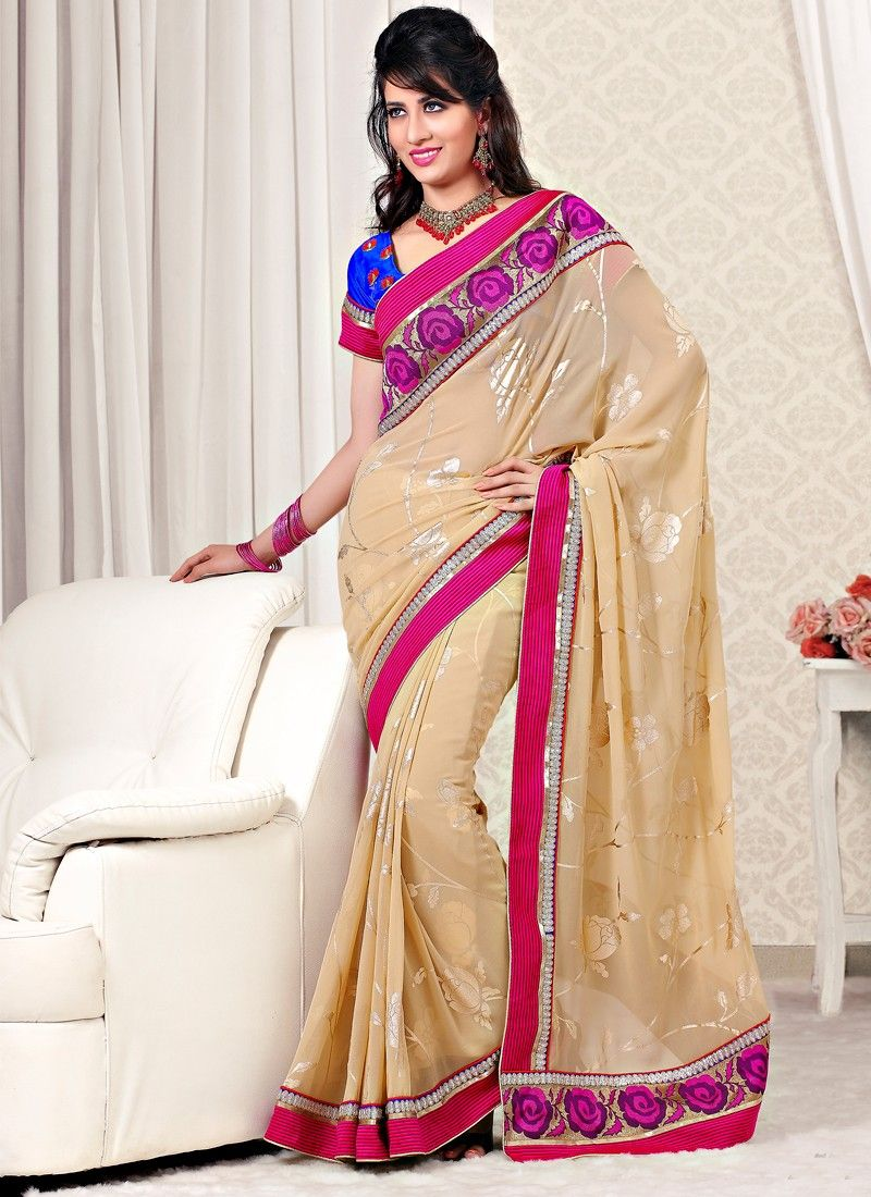 Cream Color Faux Georgette Designer Saree