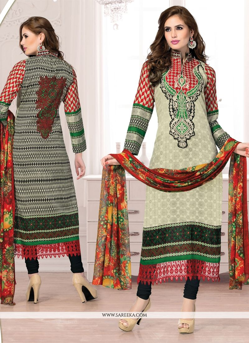 Cream Cotton Churidar Salwar Suit