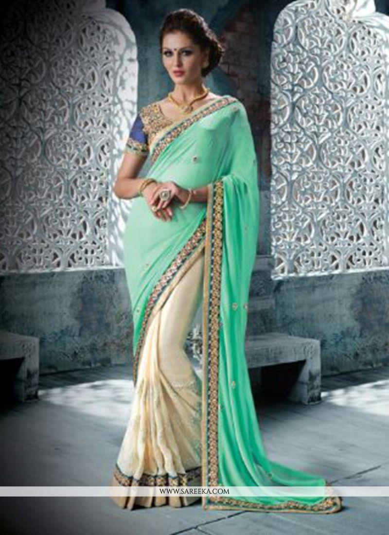 Cream Georgette Designer Saree