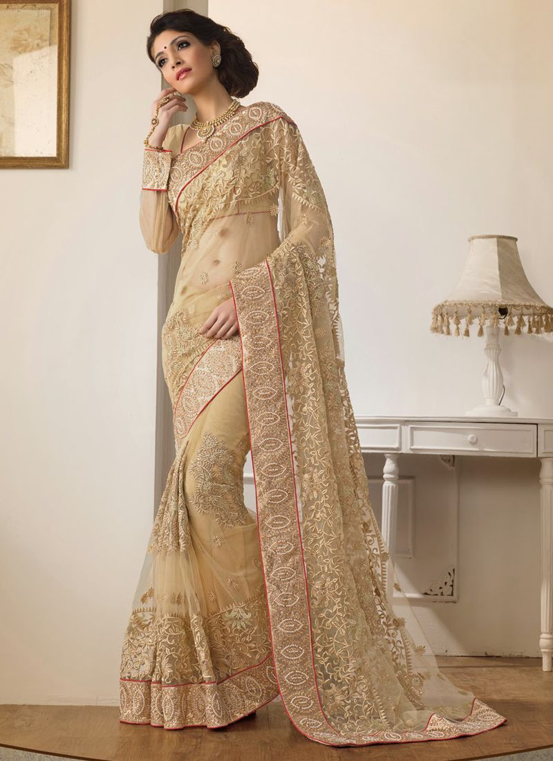 Cream Net Stone Work Saree